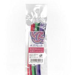 画像1: Nagatoya カラー水引セットMHC-03(ボタン・桃・エメラルド・グリーン・桔梗・紺)約90cm 60本入り(6色×各10本)